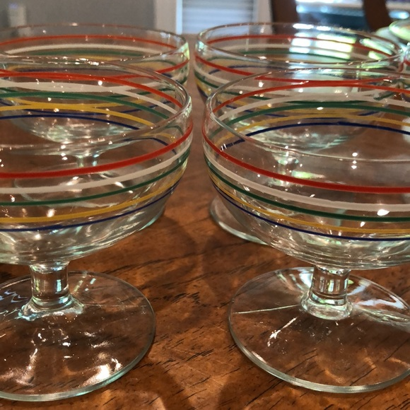 Sold Vintage rainbow striped champagne/ mouse glass set